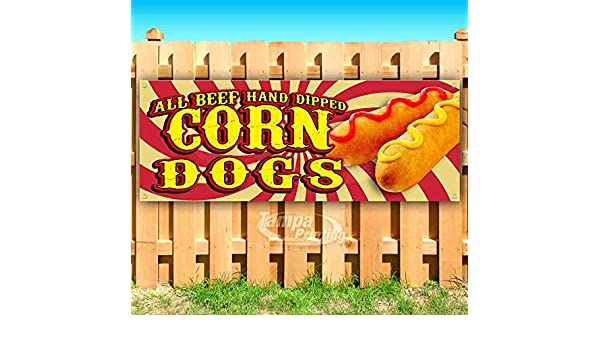 Flag, New All Beef Hot Dogs 13 oz Heavy Duty Vinyl Banner Sign with Metal Grommets Store Advertising Many Sizes Available