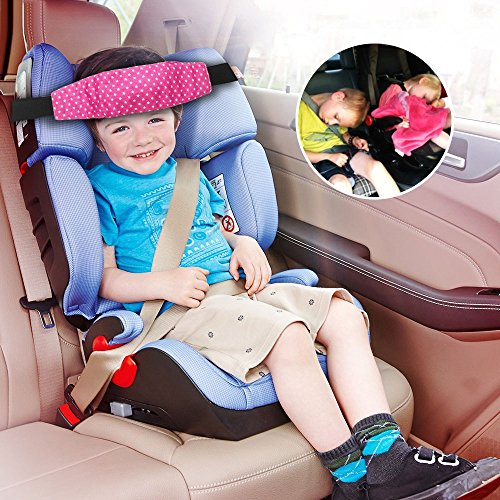 Sungrace Toddler Car Seat Baby Infant Sleeping Head Support, Safety Stroller Sleeping Belt, Kids and Baby Safety Car Seat Neck Relief Head Support Band Sleep Strap with Adjustable Belt(Star, Pink) from Sungrace