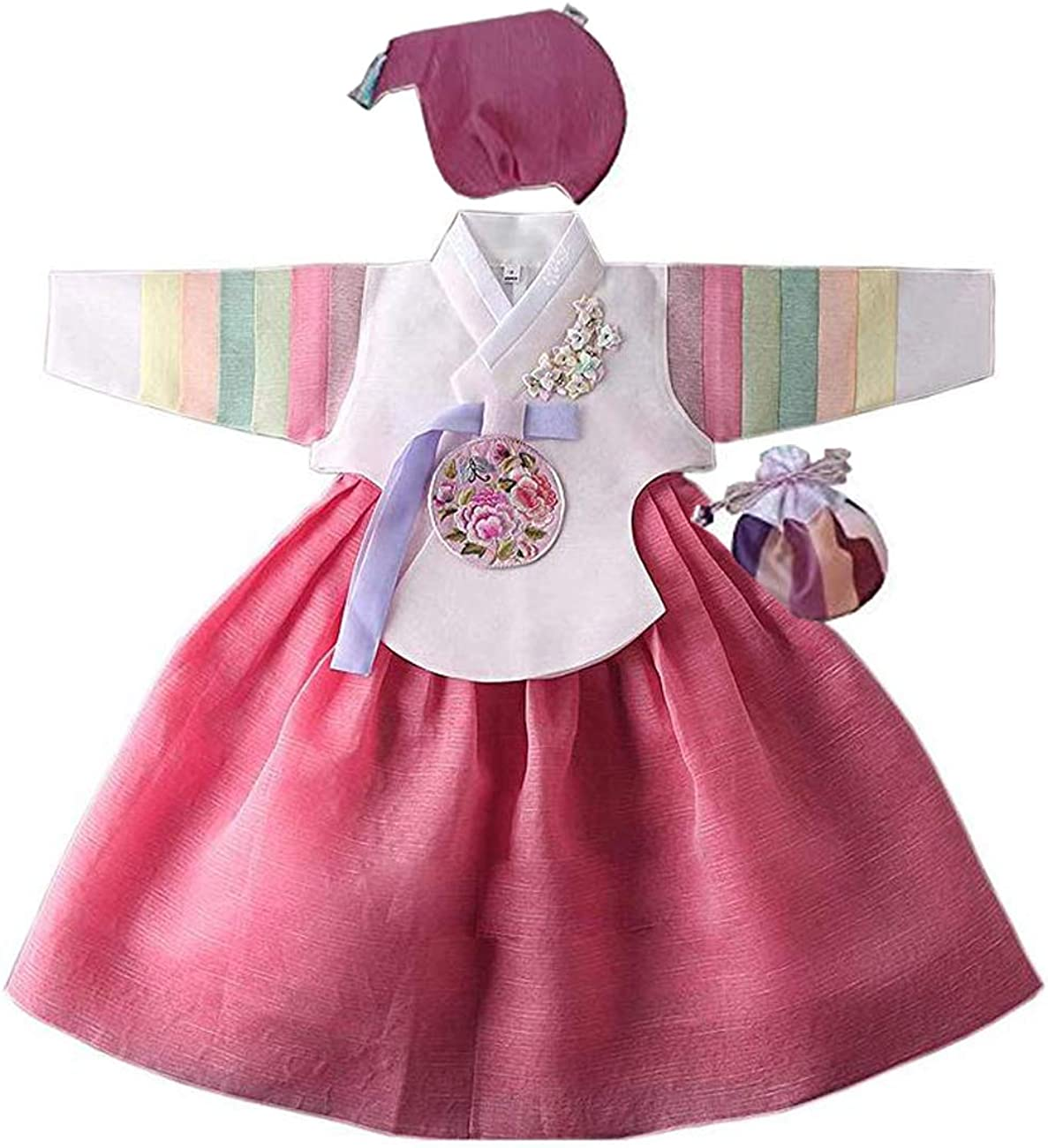 Korean hanbok girls baby traditional costumes dress 1st birthday Dolbok dol