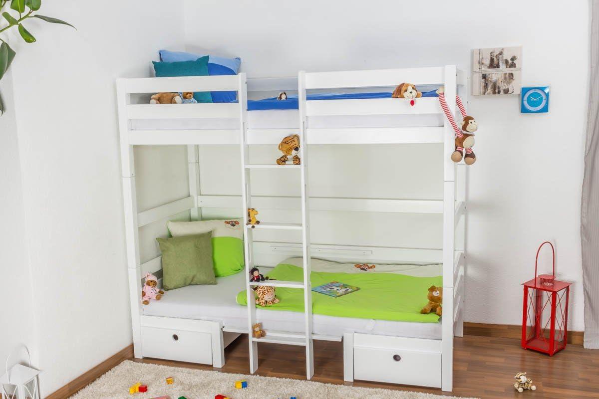 Para cama de niños/litera/cama funcional Tim (en una mesa de madera o de{2} camas) madera de haya lacada en blanco, incluye listones - 90 x 200 cm: Amazon.es: Bricolaje y herramientas