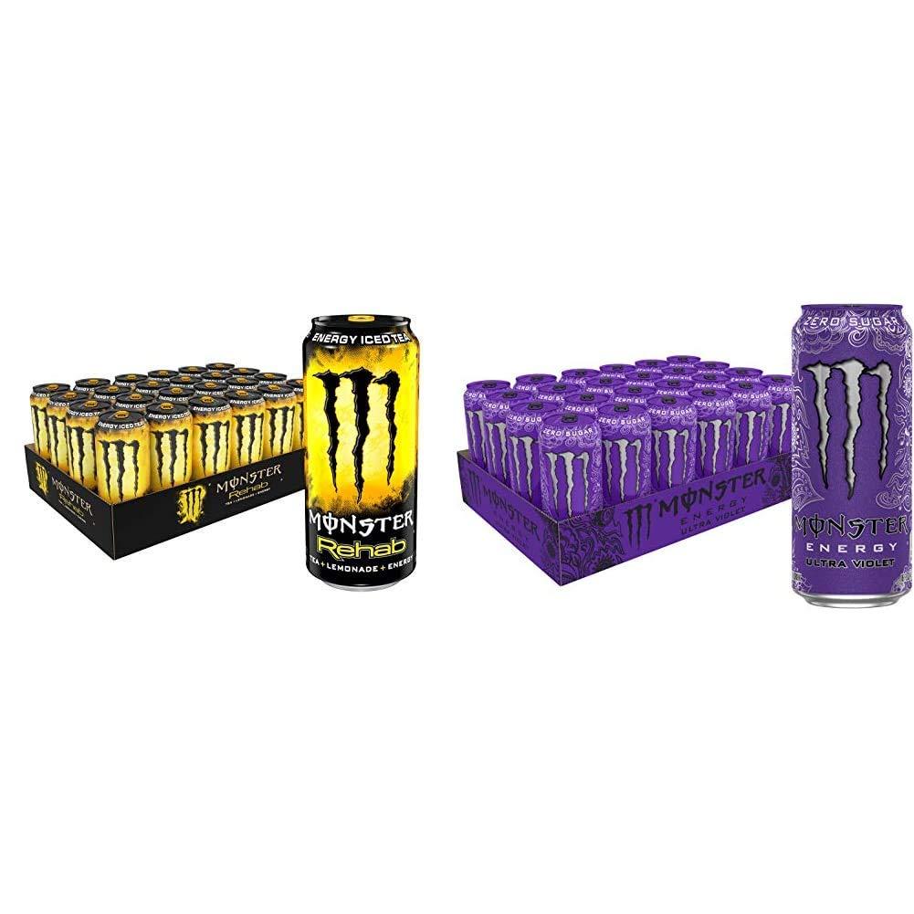 Monster Rehab Tea + Lemonade + Energy, Energy Iced Tea, 15.5 Ounce (Pack of 24) & Monster Energy Ultra Violet, Sugar Free Energy Drink, 16 Ounce (Pack of 24)