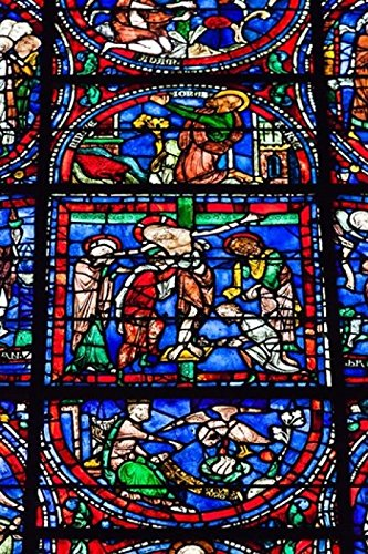 Posterazzi Stained Glass Window in Chartres Cathedral Poster Print by Walter Bibikow, (24 x 36)