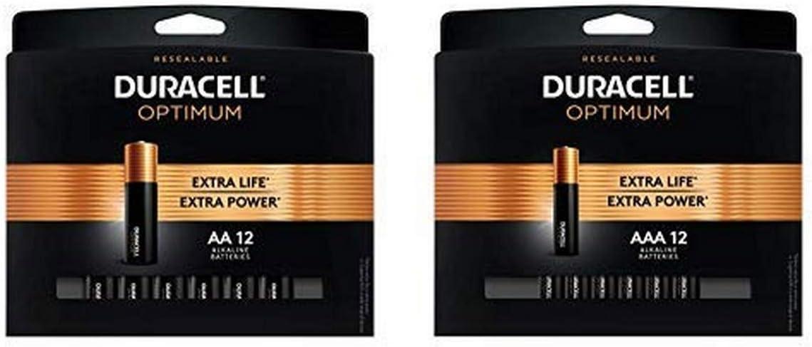 Duracell Optimum 1.5V Alkaline AA Batteries - Double A Battery 12 Count with AAA Alkaline Batteries  1.5V Triple A Battery 12 Count