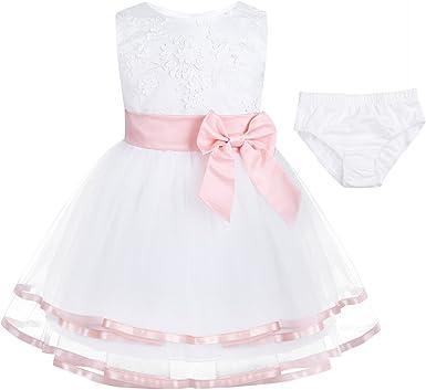 Newborn Baby Girls Dress Party Birthday Christening Wedding Dress with Bloomers