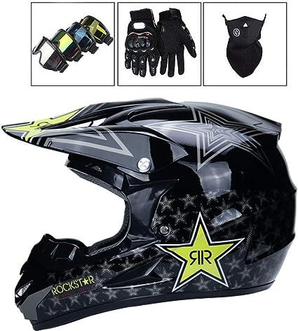 Motocross Helm Adult Off Road Helm Mit Handschuhe Maske Brille Unisex Motorradhelm Cross Helme Schutzhelm Helm Für Männer Damen Sicherheit Schutz 53 59cm B Xl 58 59cm Sport Freizeit