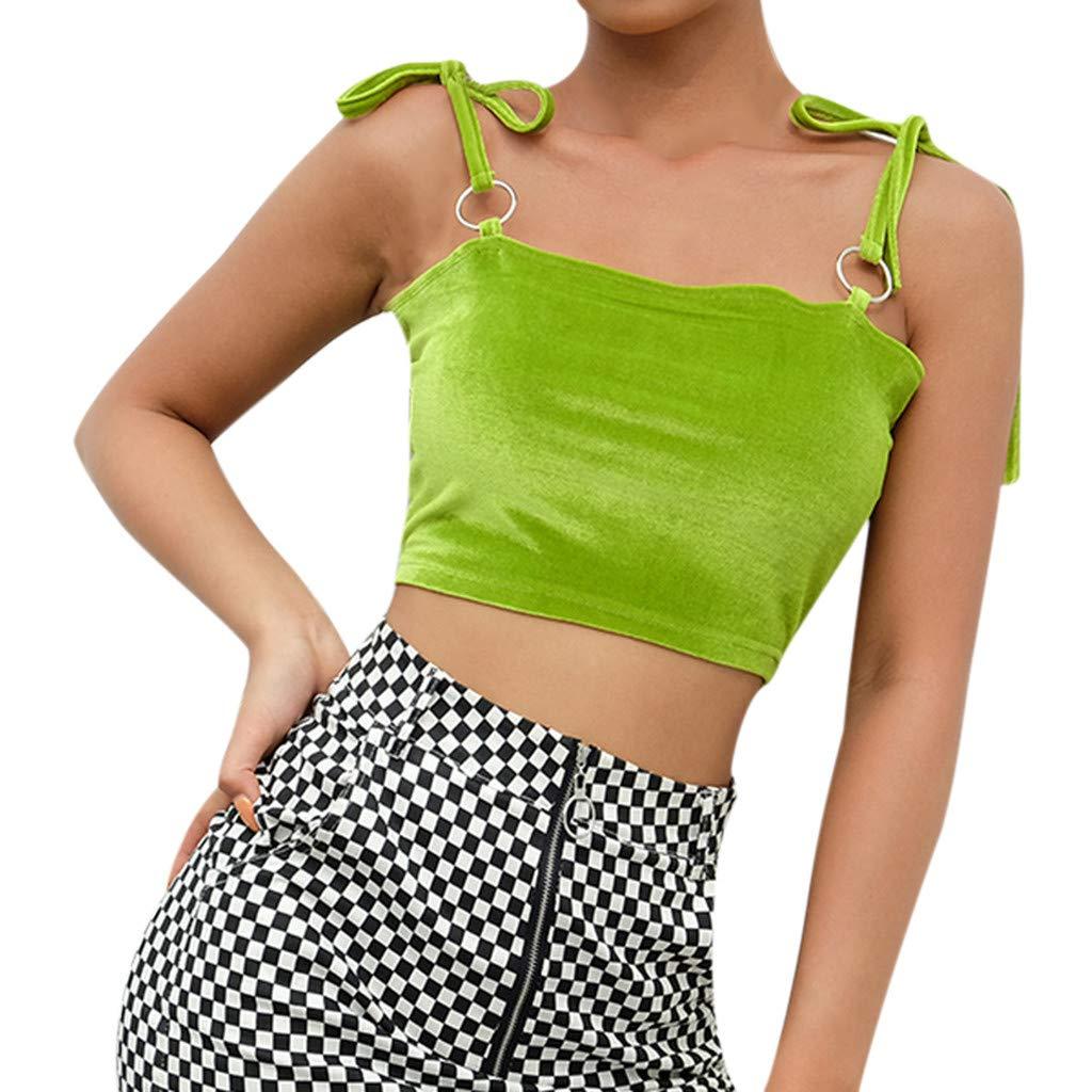 Women Velvet Noodles Solid Lace Up Grommet Short Vest,Funic Dew Navel Crop Straps Camis