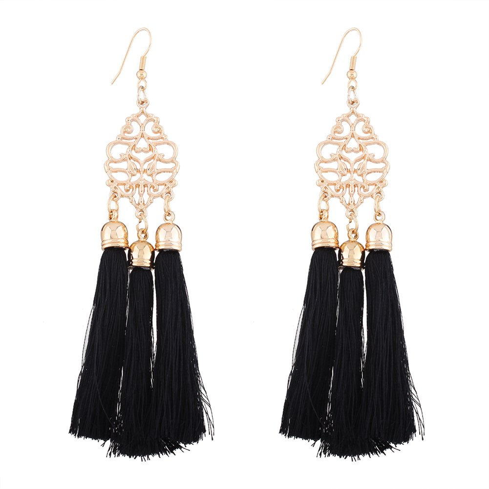 Aibelly Bohemian Long Fringe Vintage Ethnic Thread Tassel Statement Dangle Drop Earrings New Fashion Creative Retro Handmade Boho Hook Earrings for Woman Girls