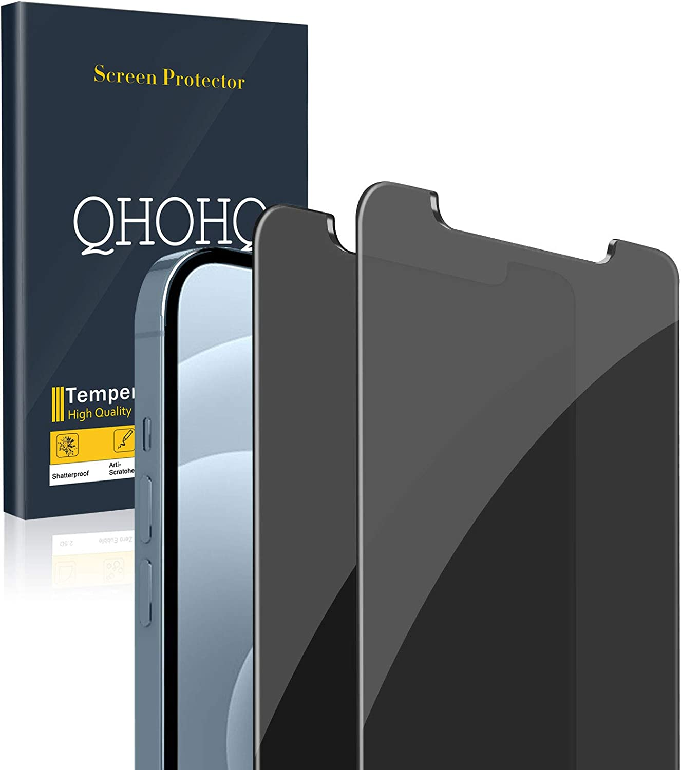 [2 Pack] QHOHQ Privacy Screen Protector for iPhone 12 Pro Max [6.7
