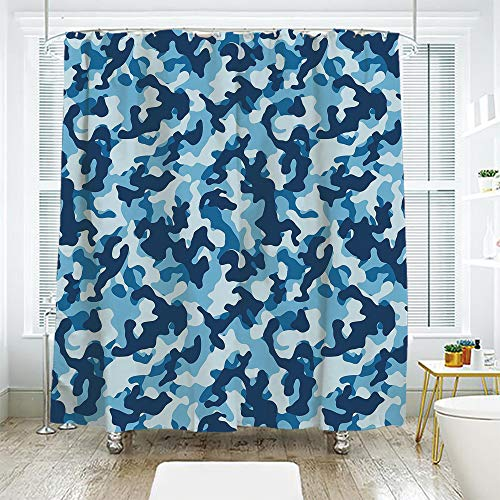 scocici DIY Bathroom Curtain Personality Privacy Convenience,Camouflage,Military Infantry Marine Troops Costume Pattern Vibrant Color Palette Surreal Decorative,Blue Coconut,70.8