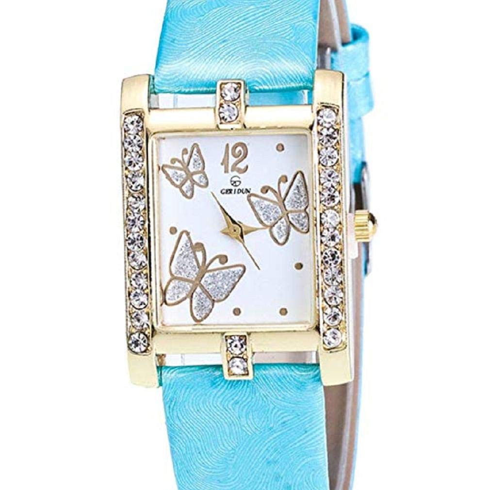Fashion Clearance Watch! Noopvan Butterfly Watches for Women,Crystal Analog Lady Watches Female Watches on Sale Wrist Watches for Women Rectangle Leather Watch-A136 (Sky Blue)
