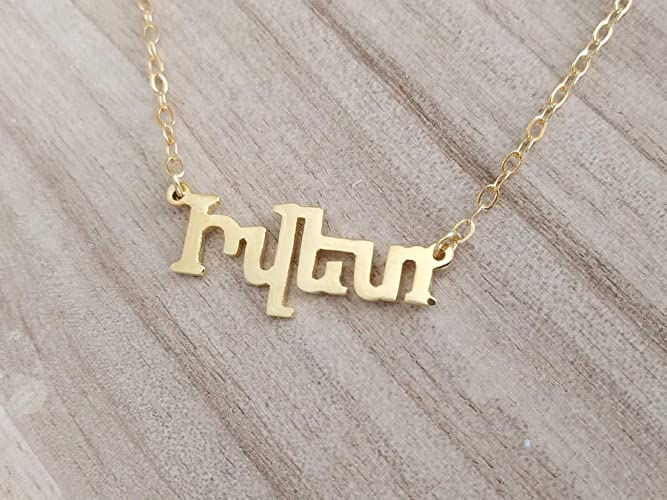 5851e0af098ab Personalized Dainty Armenian Name Necklace Yellow Gold Plated Over 925  Sterling Silver