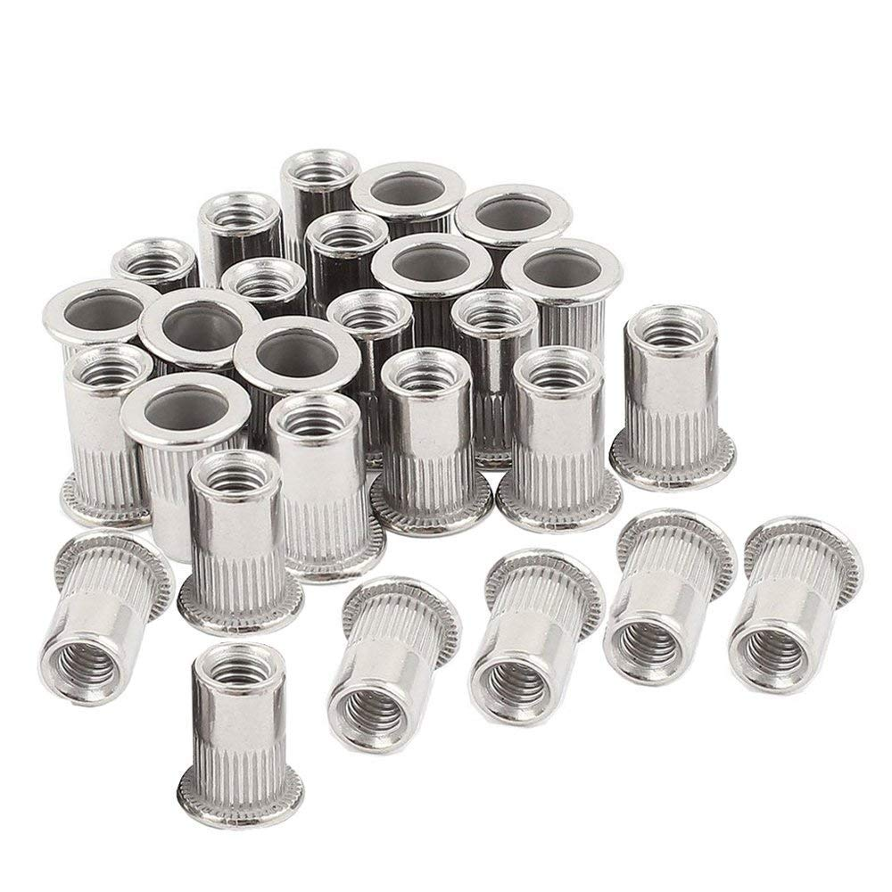50pcs M5 Rivet Nuts Stainless Steel Threaded Insert Nutsert Rivnuts M5