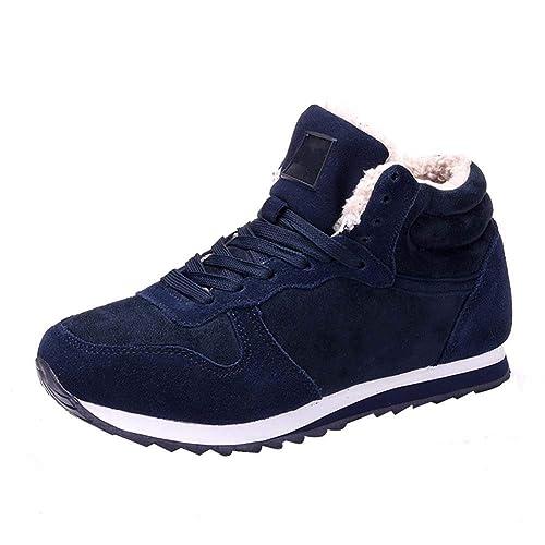 Uirend Zapatillas Zapatos Hombre - Plano Invierno Forradas Zapatillas Botas Forradas de Nieve Sneaker Botines Planas Moda: Amazon.es: Zapatos y complementos