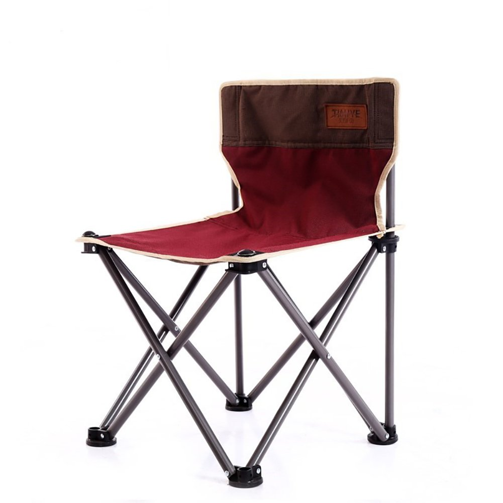 ZJM-Chaise Lounges Portable Folding Chair Beach Chair Lazy Chair Light And Handy Aluminium Alloy Outdoor/camping/fishing (Color : Red)