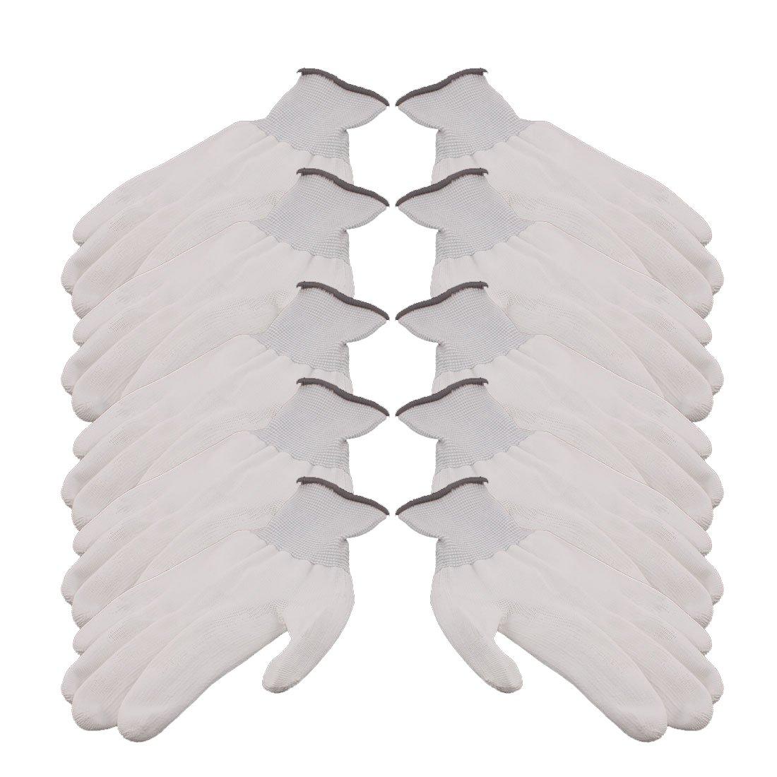 uxcell 5 Pair 13 Needles Nylon Labor Protection Anti-static Non-slip Gloves Gray White