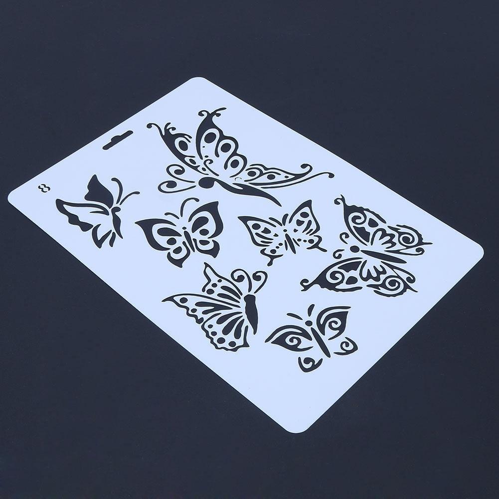 matefielduk Stencil per dipingere bricolage farfalla righello Stencil album fotografico scomparti solette decorazione strumento da disegno