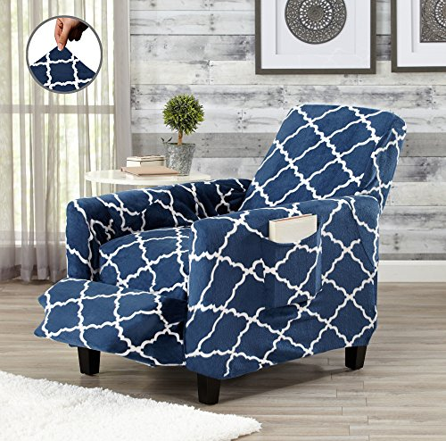 Modern Velvet Plush Strapless Slipcover. Form Fit Stretch, Stylish Furniture Shield / Protector. Magnolia Collection Strapless Slipcover by Great Bay Home Brand. (Recliner, Navy) (Bed Slipcover)