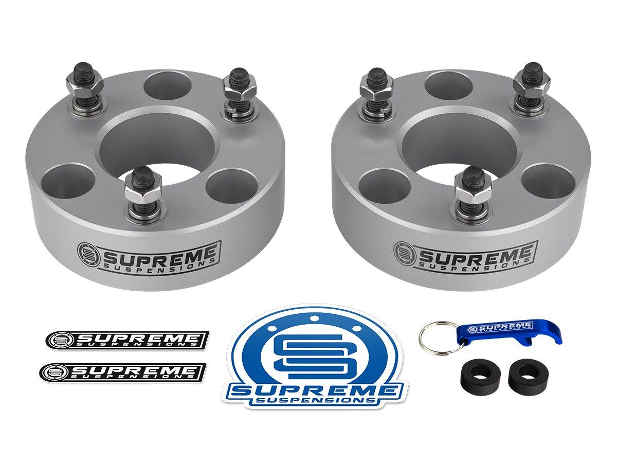 Supreme Suspensions - Ram 1500 Lift Kit Front 2' Leveling Lift Kit for [2006-2018 Dodge Ram 1500 4WD] and [2005-2011 Dodge Dakota] BLACK Aircraft Billet Strut Spacers AZM 189.1_Ram_PRO