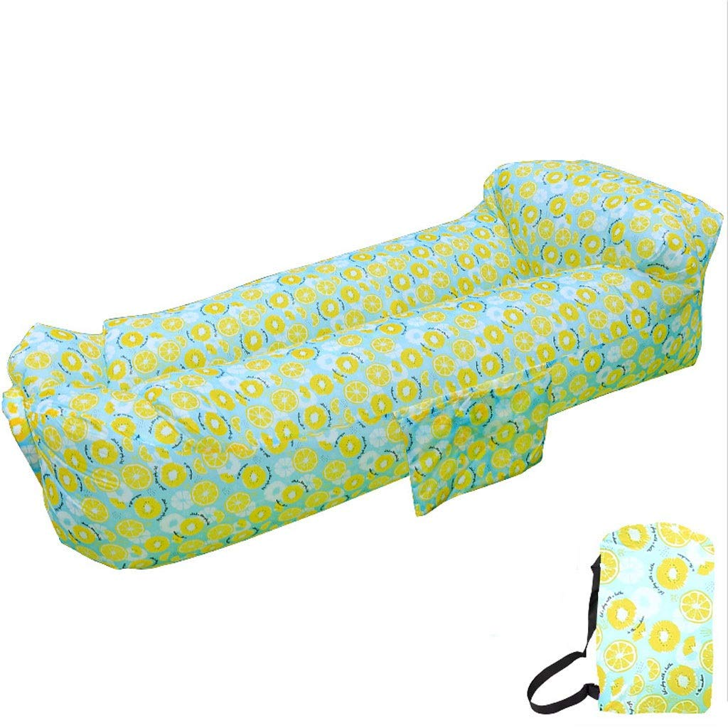 Inflatable Lounger air Couch Chair Sofa Pouch | Lazy Hammock Blow up Bag | Lounge Outdoor at The Beach or Camping |Chairs are The Best Outdoor Wind hammocks Around (Color : Lemon) by Chenguojian