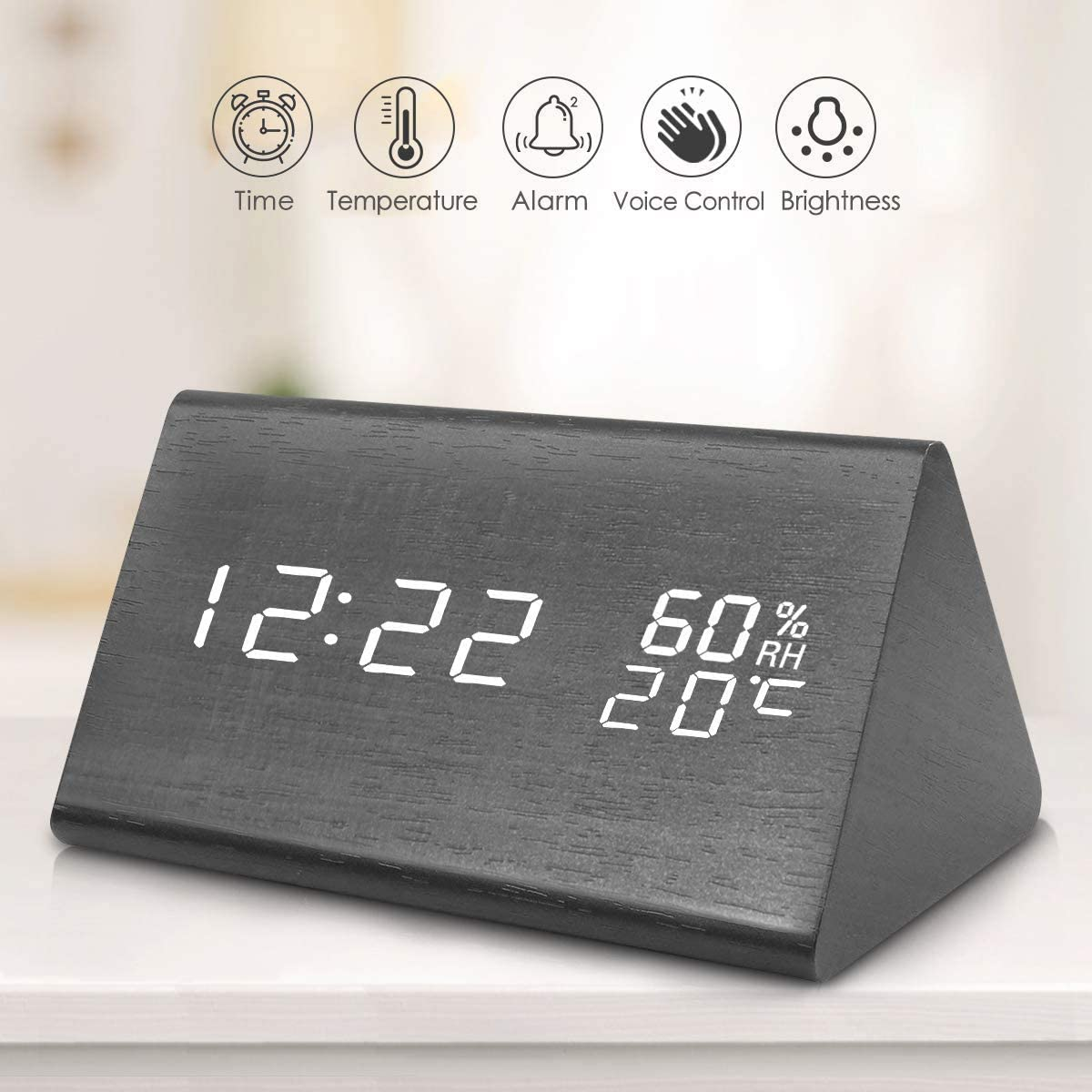 Fane Digital Alarm Clock, Wooden Clock with LED Time Display, 3 Alarm Settings, Humidity Temperature, Electric Clocks for Bedroom Bedside, Black