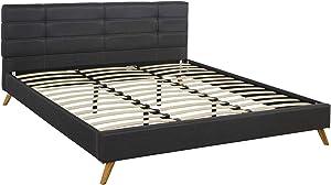 Divano Roma Furniture Mid-Century Linen Platform Bed Frame with Pleated Headboard Design (Full, Dark Grey)