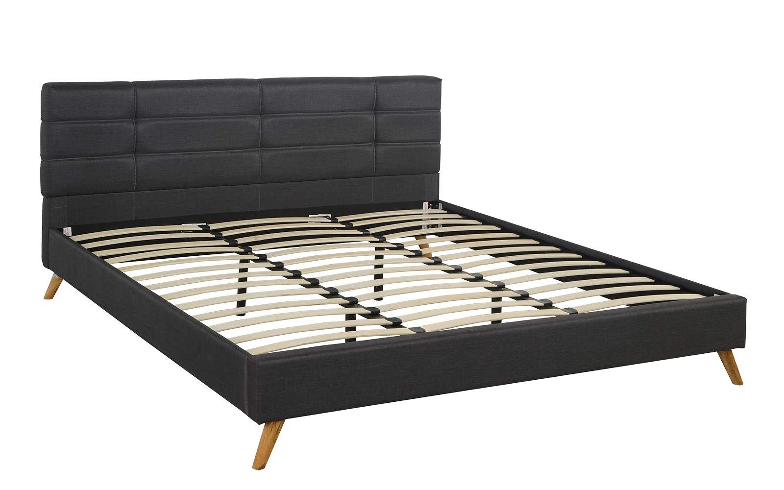 DIVANO ROMA FURNITURE Mid-Century Linen Platform Bed Frame with Pleated Headboard Design (King, Dark Grey)