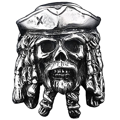 (ZMY Mens Fashion Jewelry Rings, 316L Stainless Steel Captain Pirate Skull Ring for Men (8))