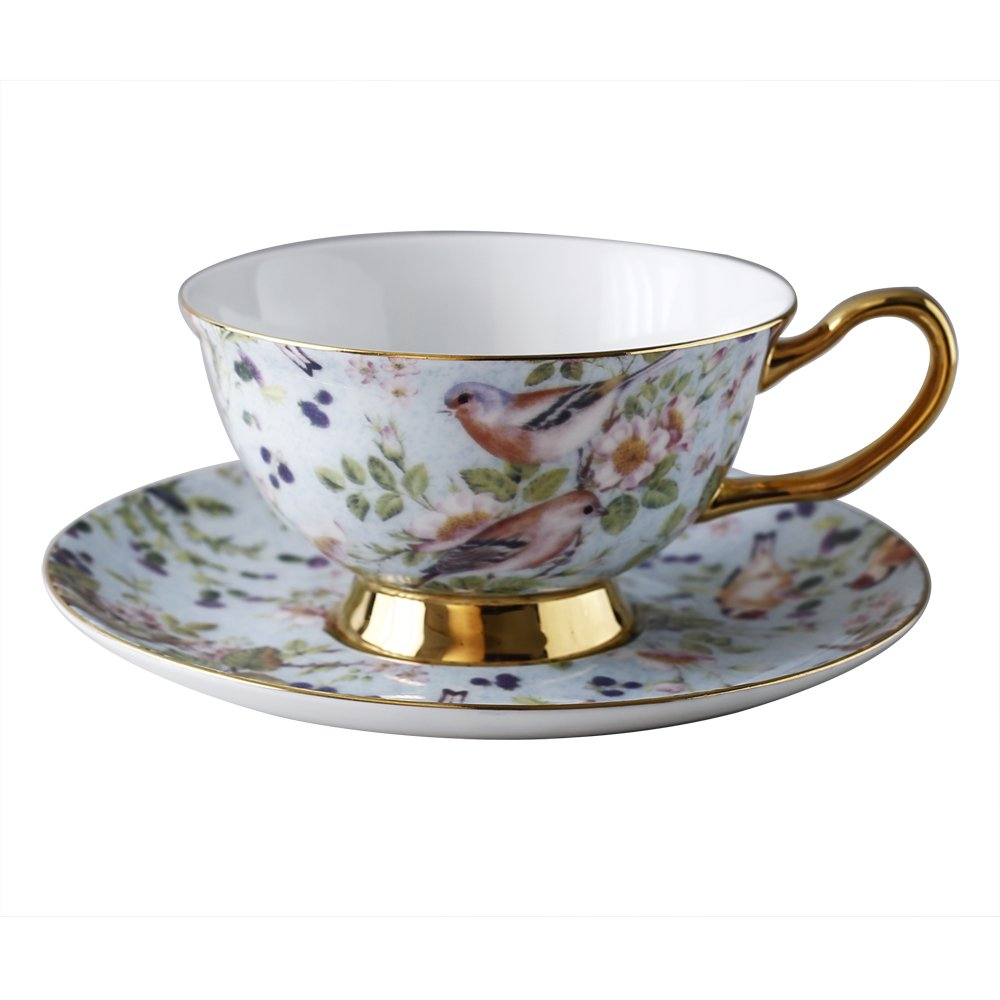 Bone China Coffee Cup 250ml(9oz) and Saucer Set with Flower and Bird Design Luxury-Gifts for Woman with Gift Box Yosou Home