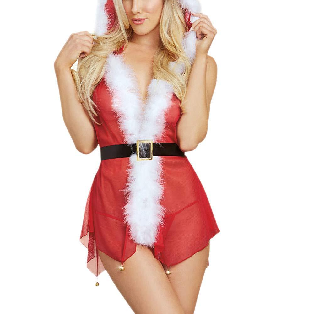 Gusspower lencería Sexy Mujer Navidad disfrazarse picardías Babydoll con Capucha y Cinturón Encaje y Tanga a Juego para Mujer: Amazon.es: Ropa y accesorios
