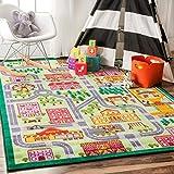 nuLOOM Playtime City Street Map Educational Multi Kids Area Rug (5' x 7'5)