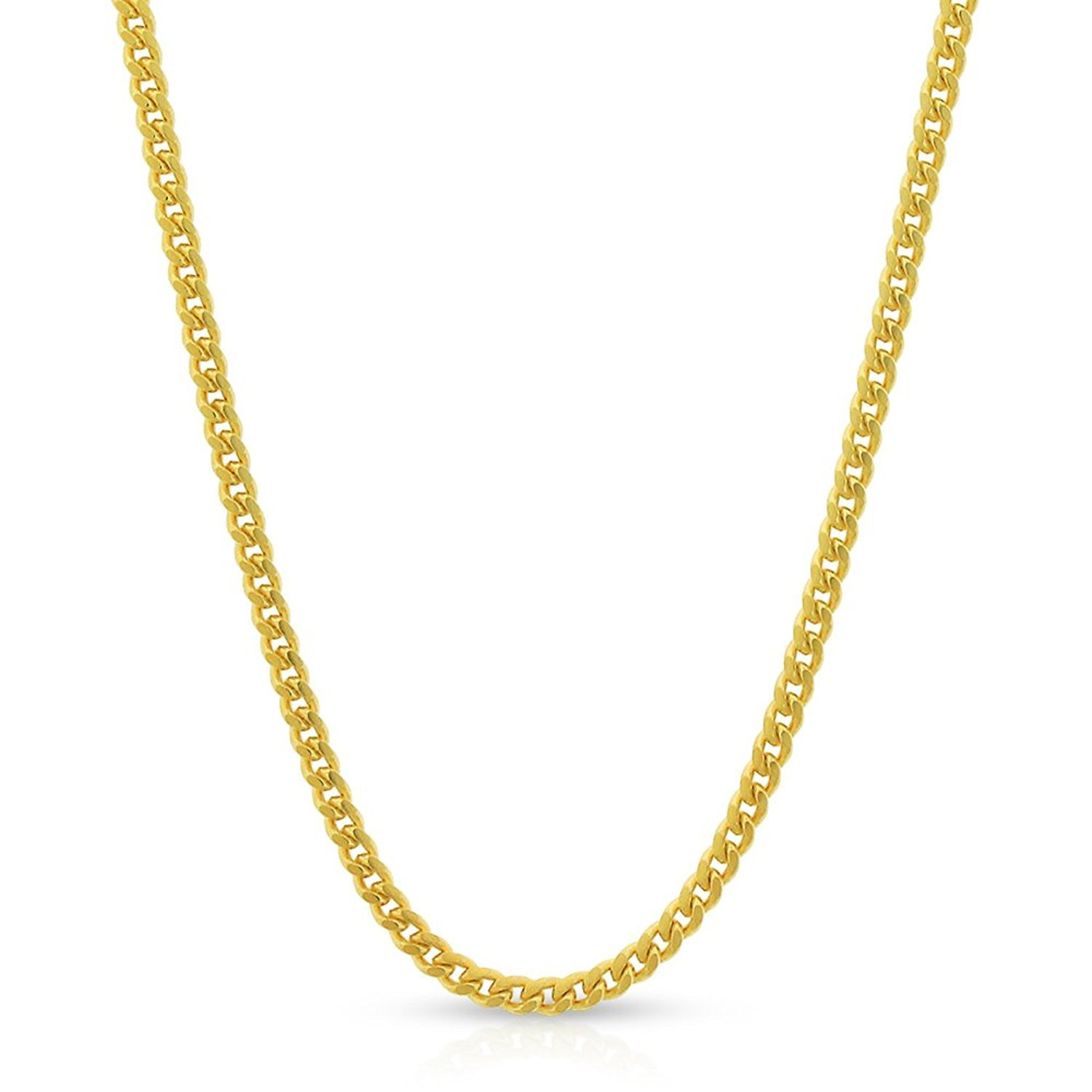 10k Yellow Gold 2mm Solid Miami Cuban Curb Link Thick Necklace Chain 16'' - 30'' (20)