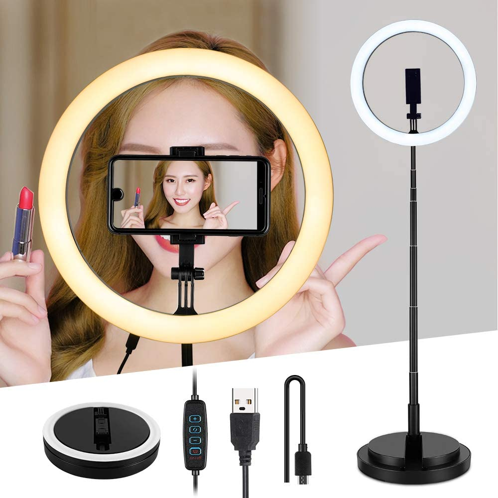 """Elikliv 13"""" Selfie Ring Light with Adjustable Round Base, 2Pcs Phone Holders, 3 Lighting Modes 10 Brightness Levels 5500K LED Dimmable Ring Light for Live Streaming, Makeup, Beauty, Photography (13in)"""