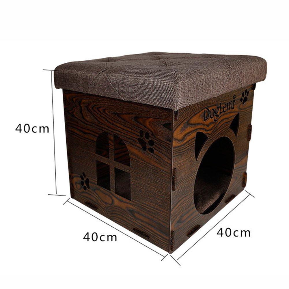 MUJING Silla de Madera de Alta Gama para el hogar, Gato y Perro, Puede Recibir Multifuncional Creativo Taburete para Mascotas (40 x 40 x 40 cm), ...