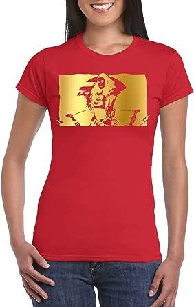 Red Female Gildan Short Sleeve T-Shirt - Aloy Frame – Gold design