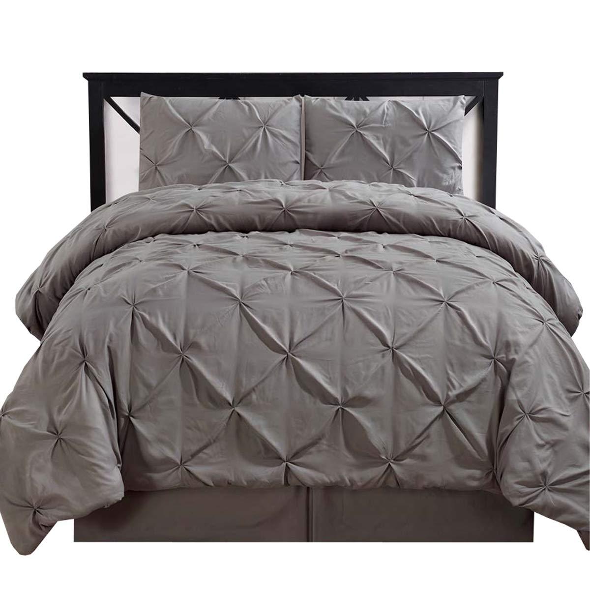 Royal Hotel Oxford Decorative Pinch Pleat Comforter Set, 4 Pieces, Hypoallergenic Comforter, Down Alternative Fill, King, Gray