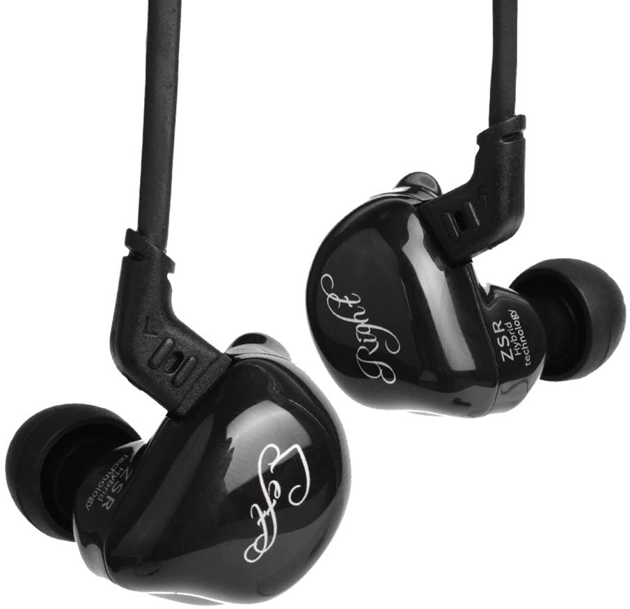 KZ ZSR in-Ear Headphones 1 DD & 2 BA Earphone HiFi Stereo Deep Bass Earbuds with Detachable Cable Noise Isolating Headset with Hybrid Driver for Running, Jogging, Walking (Black Without Mic)