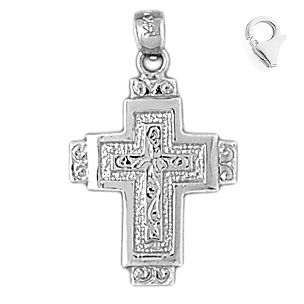 JewelsObsession Sterling Silver 29mm Cross Charm w//Lobster Clasp