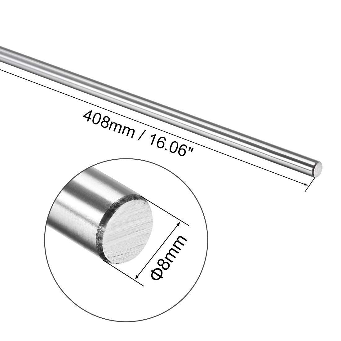sourcing map 6mm x 301mm Hardened Rod Chrome Plated Linear Motion Shaft//Guide 2 Pcs