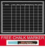"Magnetic Refrigerator Chalkboard Dry Erase Diet / Health / Nutrition / Exercise /Activity / Chore and More Chart 17"" X 12"" Plus a FREE Chalk Marker"