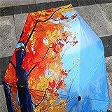 Oil Painting Folding Windproof Umbrella Women Colorful Portable Travel Sun Rain Umbrellas 8 Ribs(Maple and sky)