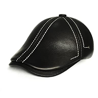 36c5f262c9653 LETHMIK Flat newsboy Cap Leather Gatsby IVY Cabbie Hat Irish Hats Hunting  Driving Cap White-L  Amazon.co.uk  Clothing