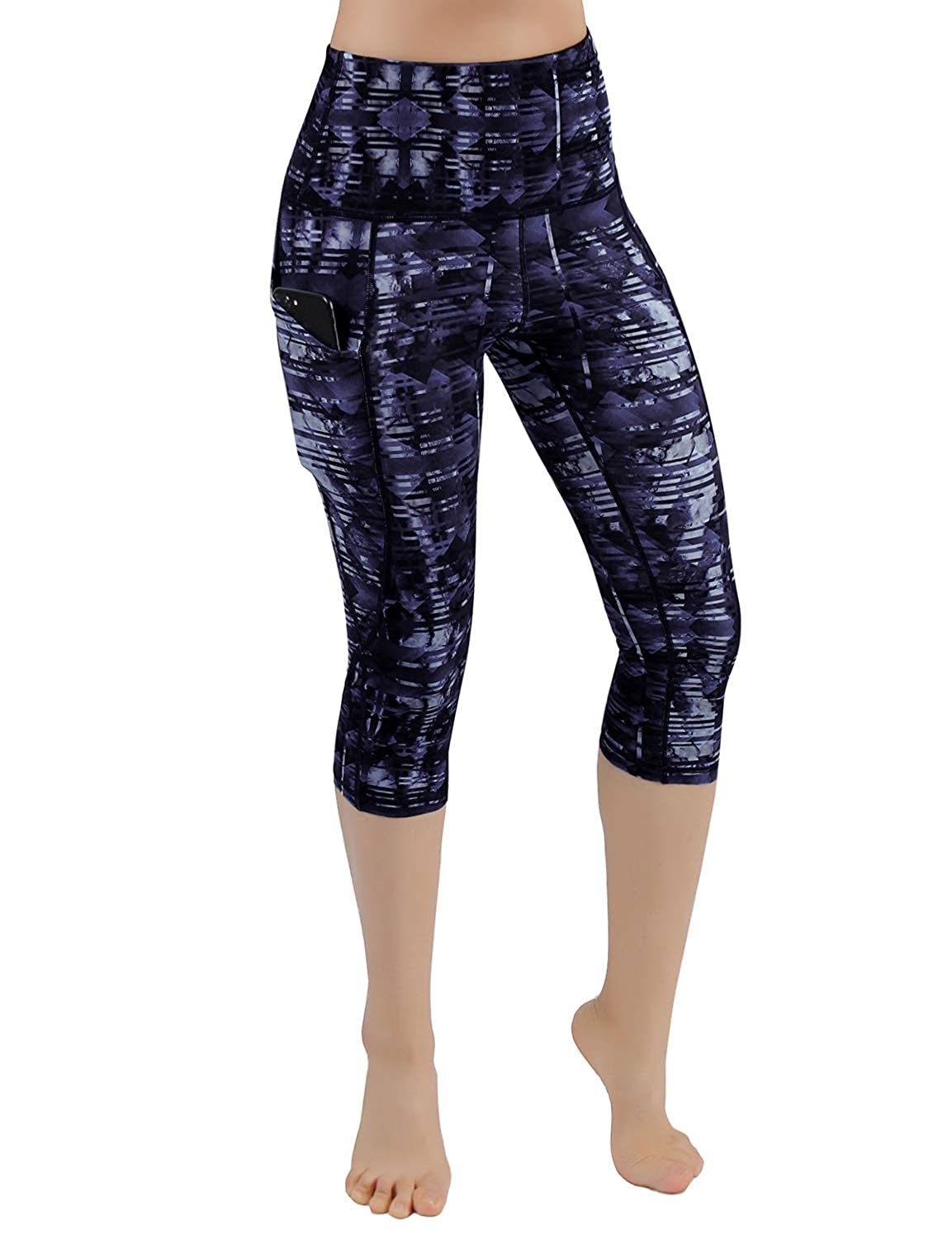 Pocketpc928indigodarkslatebluee ODODOS High Waist Out Pocket Printed Yoga Capris Pants Tummy Control Workout Running