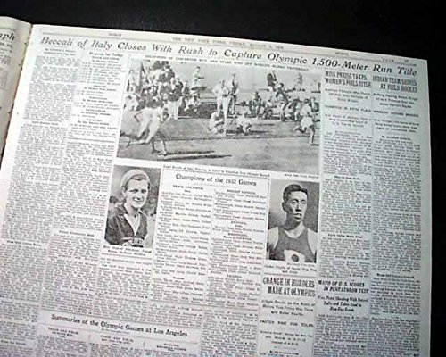 (LUIGI BECALLI 1st Italian to Win Olympics GOLD Medal in Running 1932 Newspaper THE NEW YORK TIMES, August 5, 1932)