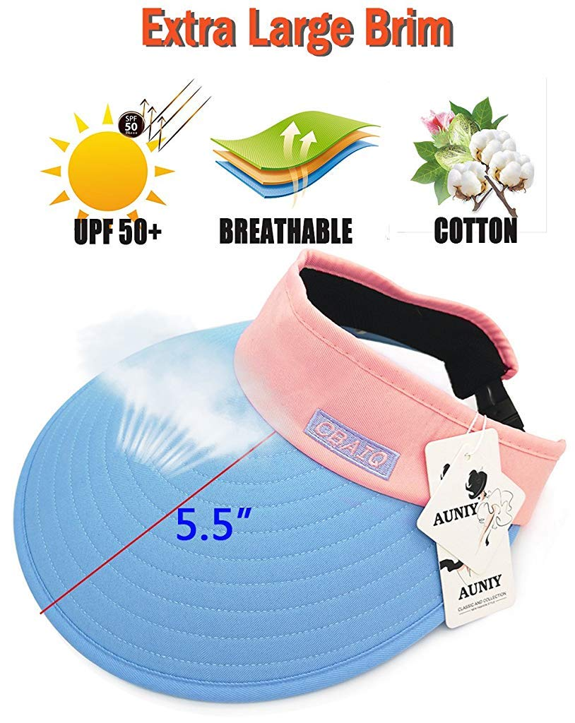 Sun Visor Hats for Women, Large Brim UV Protection Summer Beach Cap, 5.5''Wide Brim (Blue & Pink)