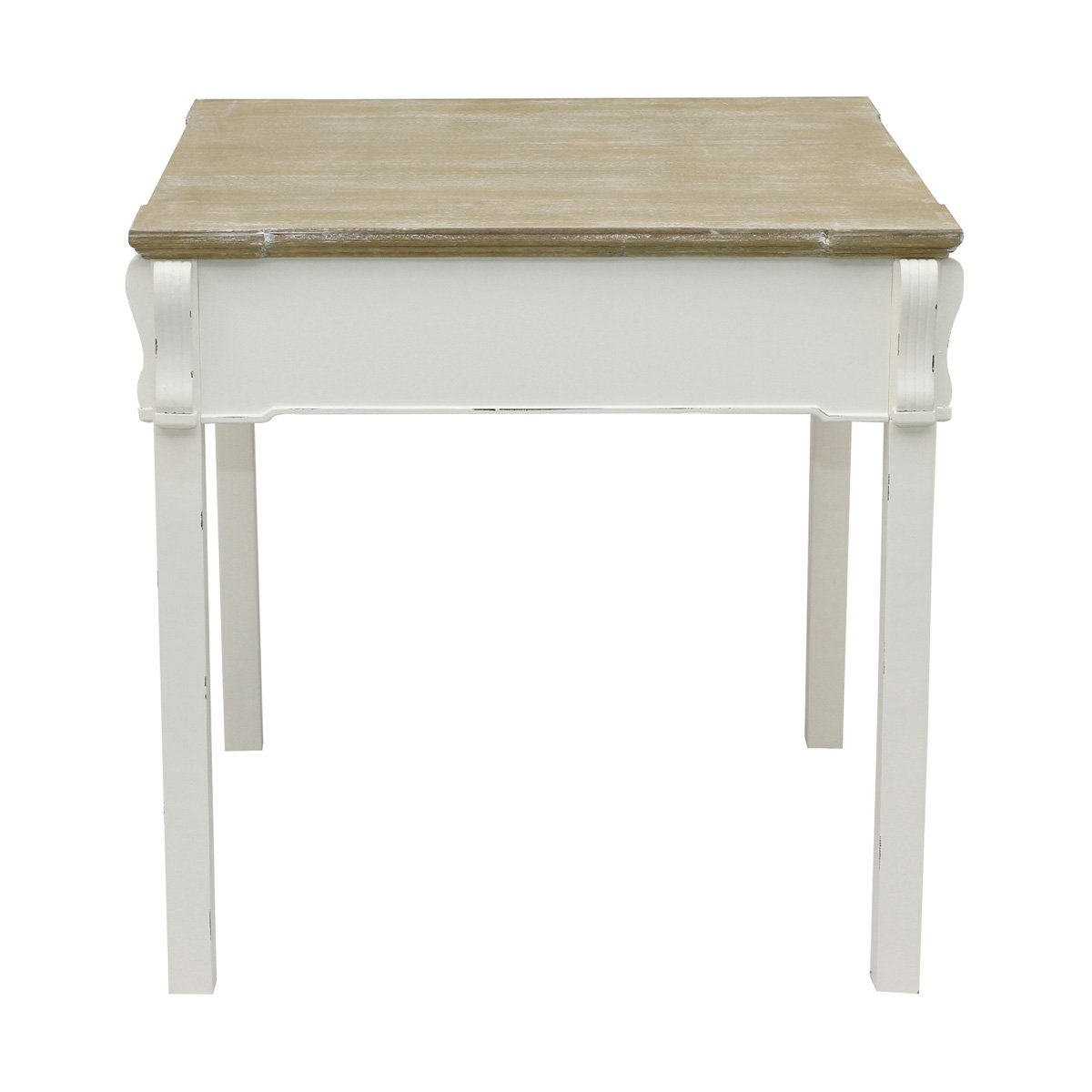 Charles Bentley Home Shabby Chic Dining Table Vintage French Style Dining Table - White Distressed Finish