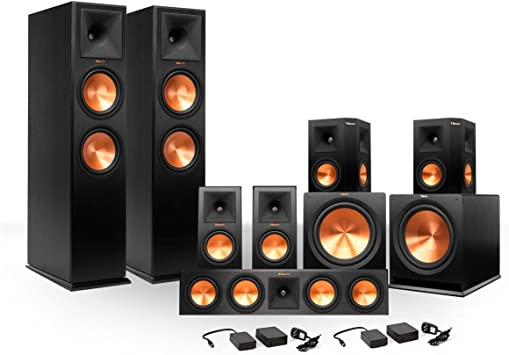1 Pair Reference Premiere 280 Floorstanding Speaker with Dual 8 inch Cerametallic Cone Woofers Klipsch R-112SW 12 Reference Series Powered Subwoofer Bundle Ebony