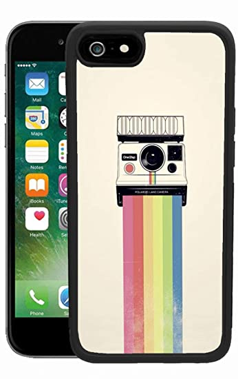buy online ccd64 f8011 Case for iPhone 6s 6 Rainbow Polaroid Case Hard PC Black Cover Case  Waterproof Shockproof Durable Protective Case