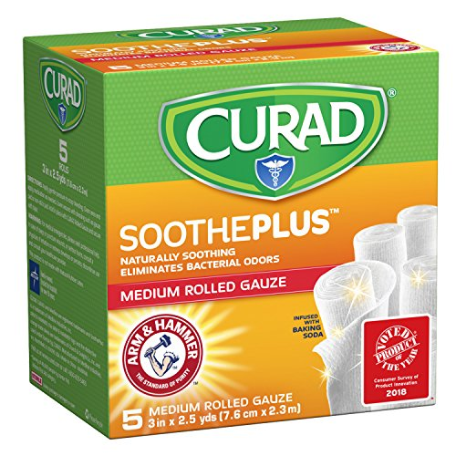 CURAD SoothePLUS Rolled Gauze with ARM & Hammer Baking Soda, 3 x 2.5 yds, 5 Count