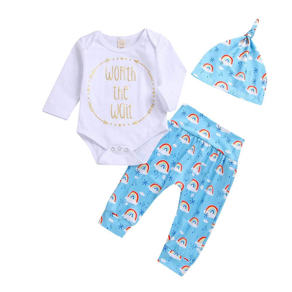 squarex Baby Girls Boys Letter Print Romper Jumpsuit Rainbow Pants Outfits Set