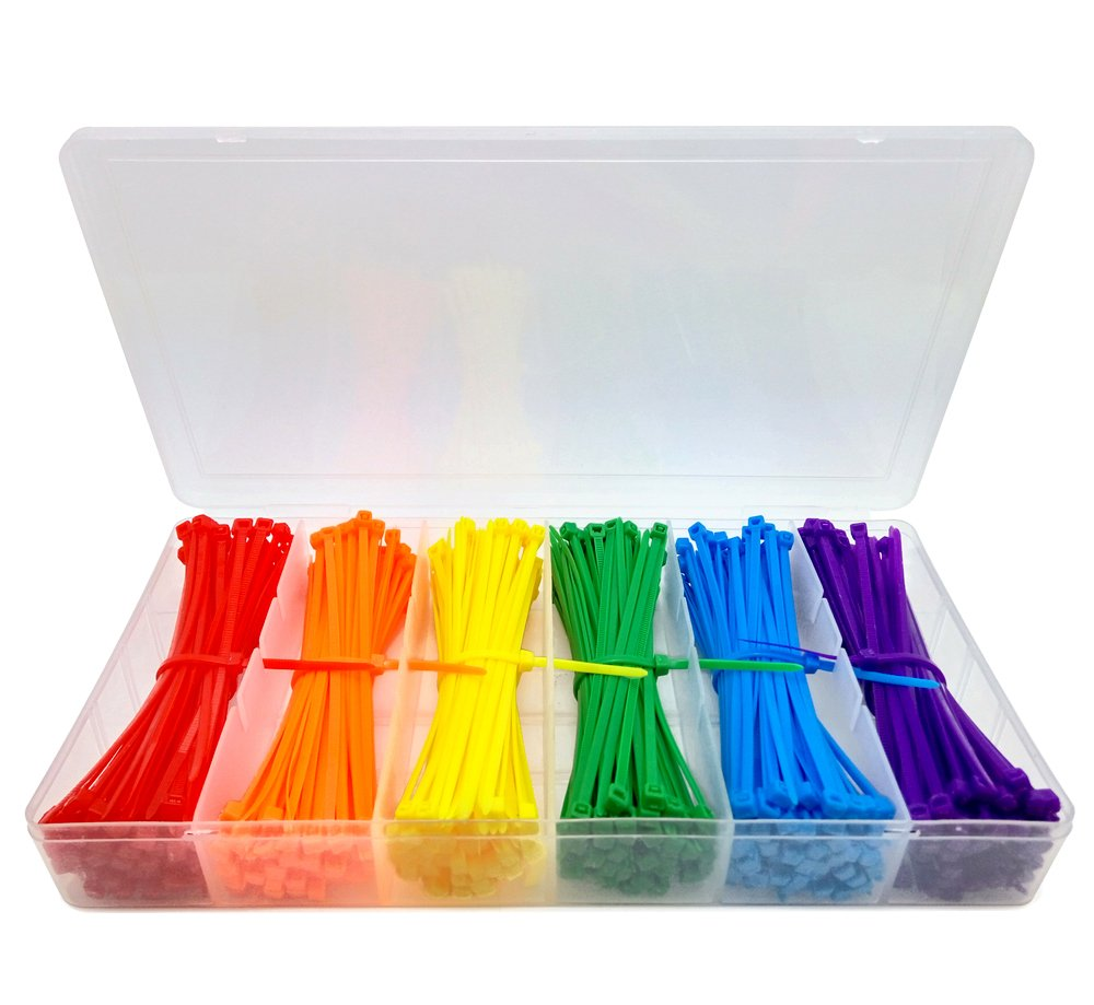 Lenitech 4 Multi Purpose Cable Ties 600 Piece Assorted Colored